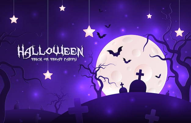 Приглашение на праздник хэллоуин, бумажный стиль.