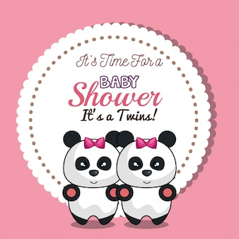 Invitation twins girl panda baby shower card design