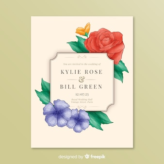 Invitation to wedding with flowers