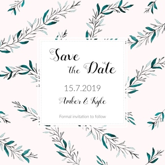 Invitation for weddings decorated with watercolor leaves