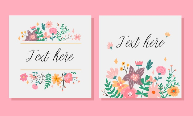 Invitation with  flower frame  illustration.