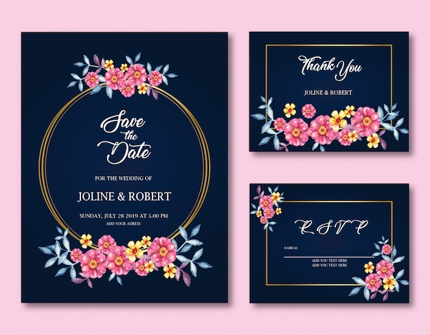Invitation with frames and rose flowers
