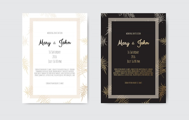 Invitation with gold floral elements. wedding invitation cards with floral elements