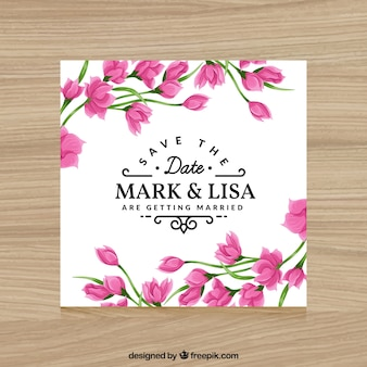 Invitation with pink flowers for weddings