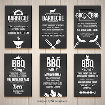 Invitations for a barbecue, black color