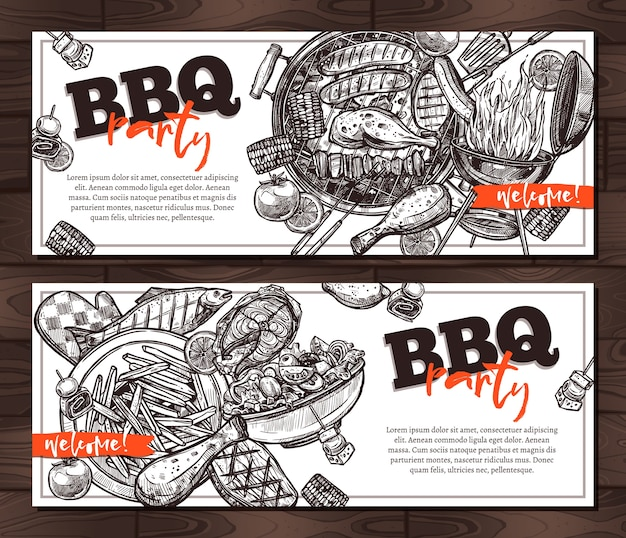 Invitations barbecue party card templates