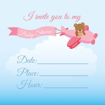 Invite birthday design over sky background vector illustration