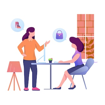 Invite to teamate to shopping illustration