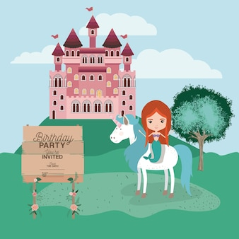 Invited birthday party card with unicorn and mermaid