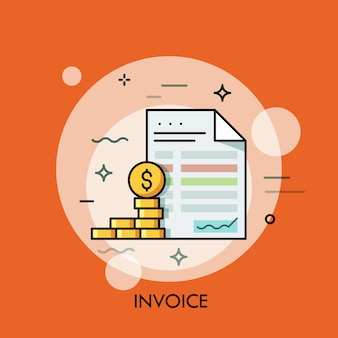 Invoice and dollar coins thin line illustration