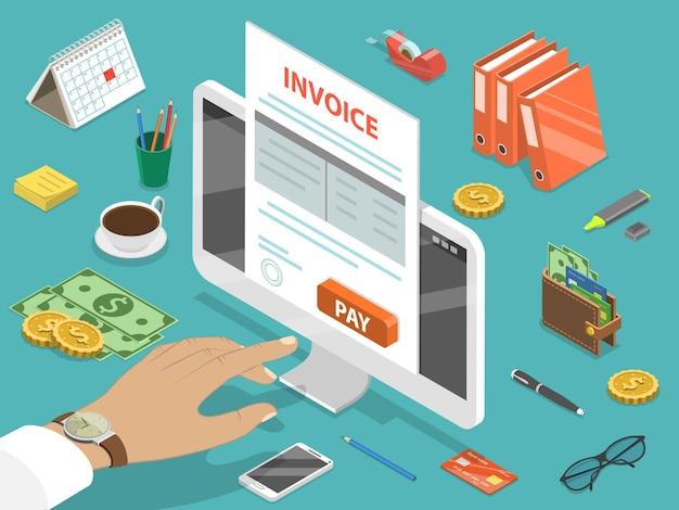 Счет-фактура плоская изометрическая концепция онлайн-оплаты