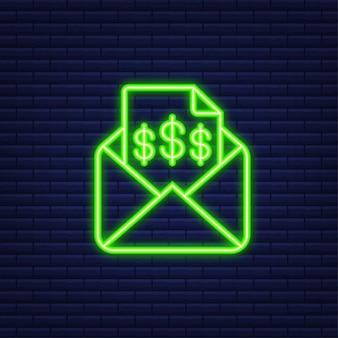 Значок счета-фактуры, сообщение электронной почты, полученное с документом счета, плоский открытый конверт с пустым листом счета-фактуры. неоновая иконка. векторная иллюстрация.