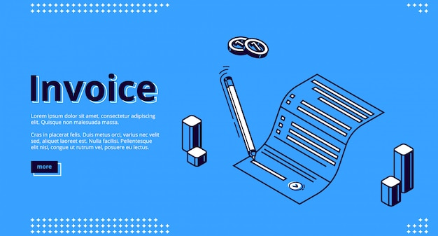 Invoice isometric landing page, paper bill signing