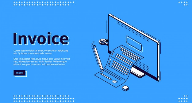 Invoice isometric landing page, tax payment bill