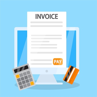 Invoice online concept. signing financial document containing bill. payment terms. flat