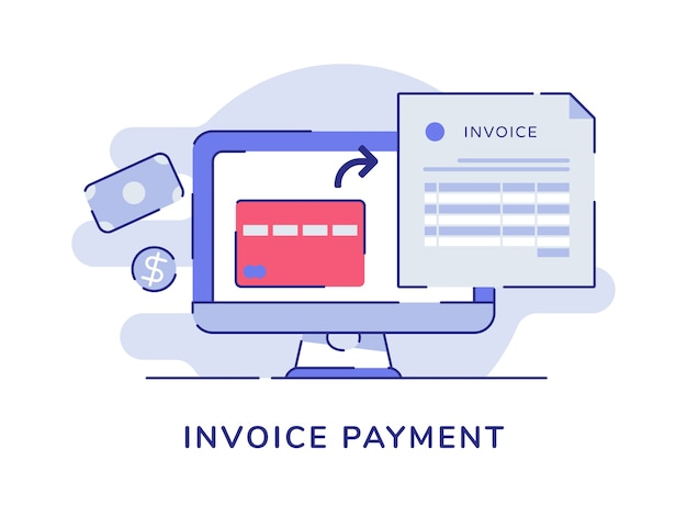 Invoice payment card bank billing on display monitor