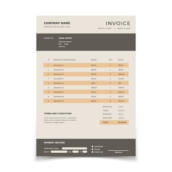 Invoice template. bill form with data table and tax. bookkeeping  document design