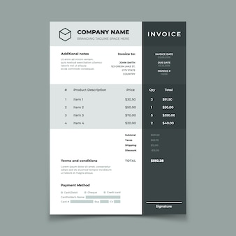 Invoice template. bill with price table. paper order bookkeeping service document. quotation  design