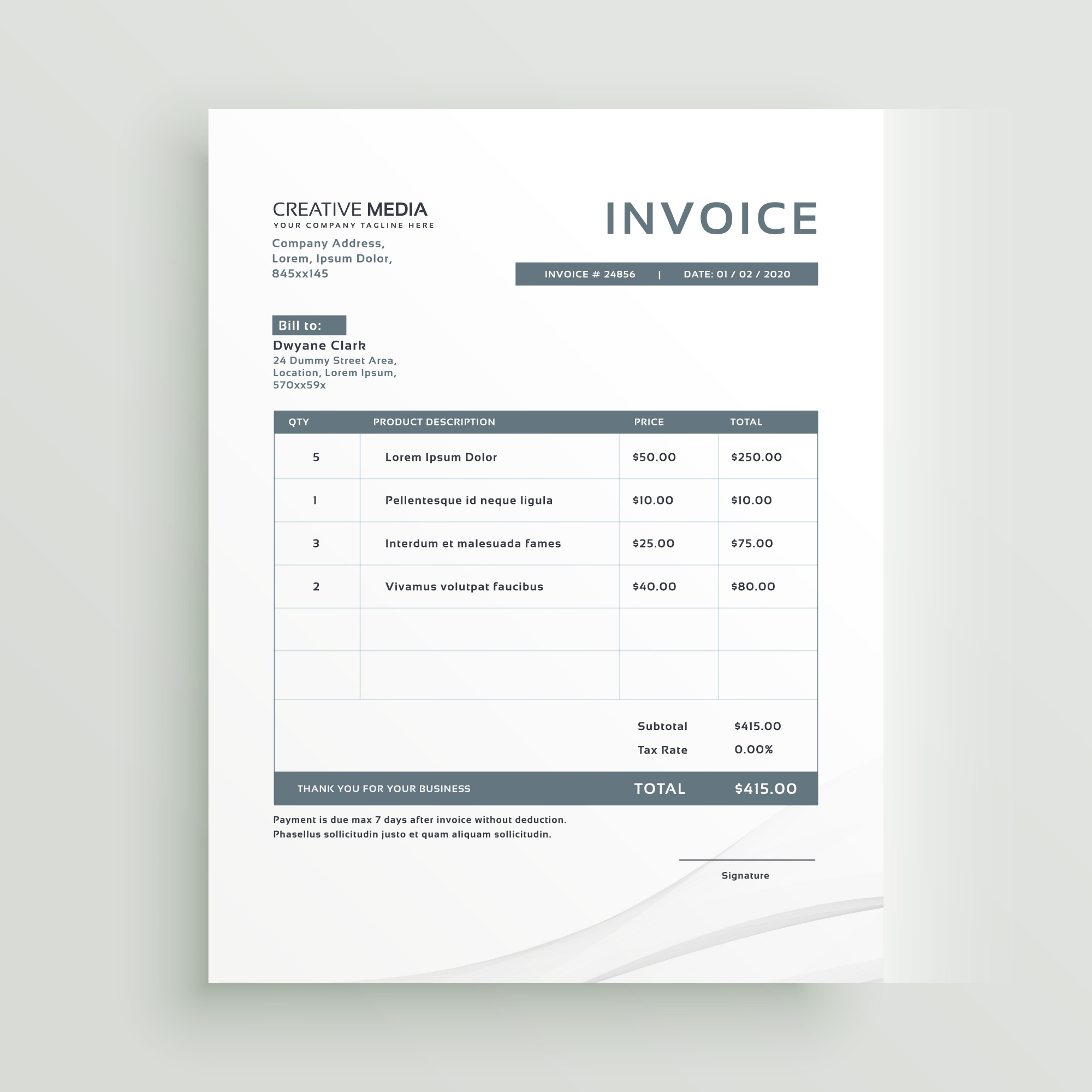 Invoice template design in minimal style