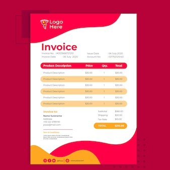 Invoice template for pizza restaurant