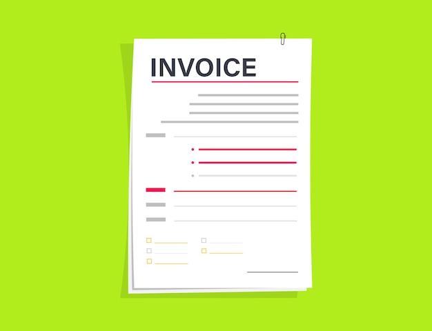 Дизайн вектора шаблона счета-фактуры. билл значок с печатью оплачен. электронный чек или счет-фактура для финансового приложения, веб-сайта или шаблона макета веб-страницы. шаблон оформления формы счета