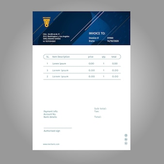 Invoice template with blue and white