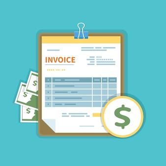 Счет-фактура с деньгами на изолированном планшете. незаполненная, минималистичная форма документа.