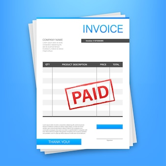 Invoice with paid stamp in clipboard. accounting concept. customer service. vector stock illustration.