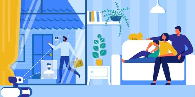 ホームオートメーション。スマートセキュリティシステム、iot、ai。