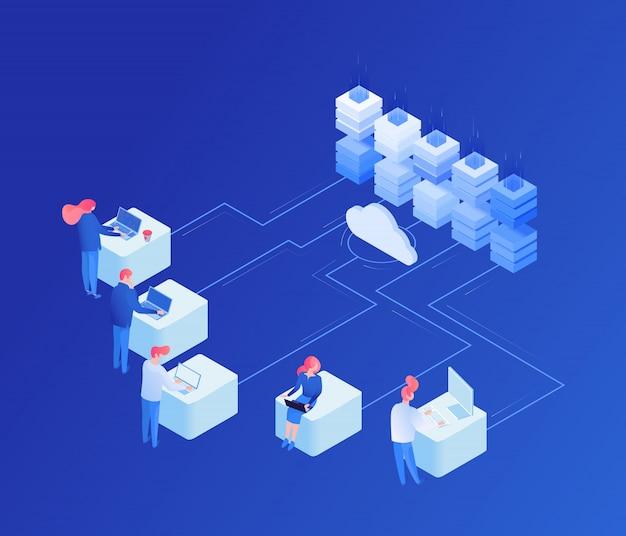 Iot, cloud service isometric