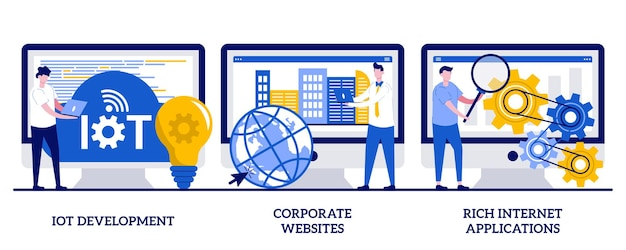 Iot 개발, 기업 웹사이트, 작은 사람들과 함께하는 풍부한 인터넷 응용 프로그램 개념. it 서비스 벡터 일러스트 레이 션을 설정합니다. 웹 개발, 사물 인터넷, 사용자 상호 작용 디자인 은유.