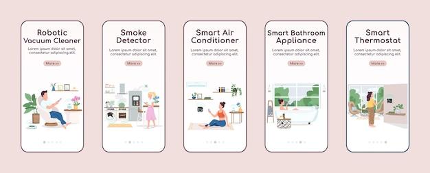 Iot 기기 온 보딩 모바일 앱 화면 평면