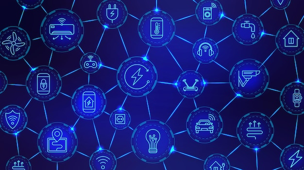 Iotデジタルチェーン。ワイヤレステクノロジー、接続されたデバイス、スマートハウスネットワーク。モノのインターネット業界の未来的なベクトルの背景。接続されたネットワークのiotデジタル、ワイヤレス制御の図