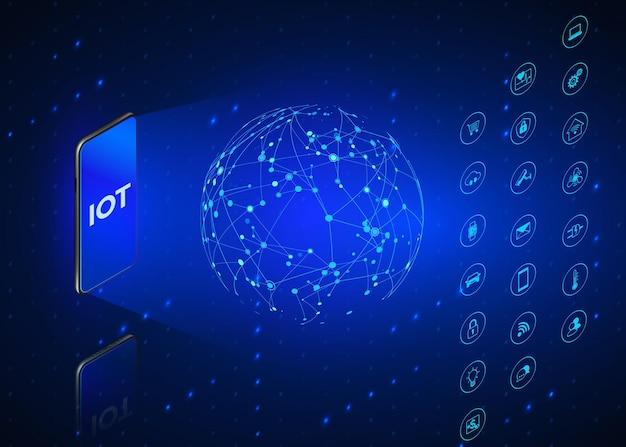 Iot。モノのインターネットのアイソメトリックアイコンが設定されています。