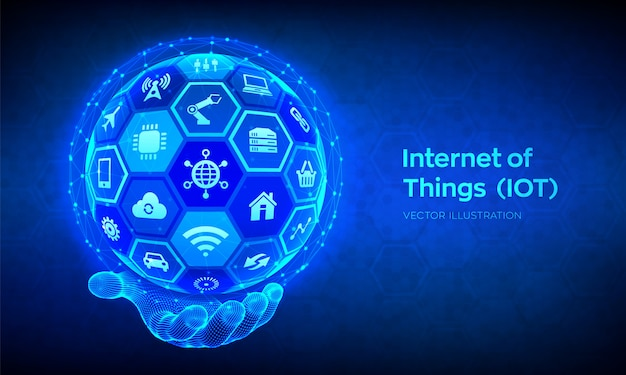 Iot. internet of things . everything connectivity device  network, and business with internet. abstract 3d sphere or globe with surface of hexagons in wireframe hand.  illustration