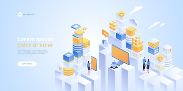 Iotアイソメトリックバナー。モノのインターネット。