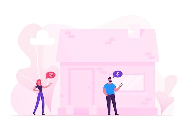 Iot 스마트 하우스 모니터링 개념. 만화 평면 그림
