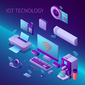 Iot технологии изометрической композиции с оргтехникой и электронными персональными гаджетами векторная иллюстрация