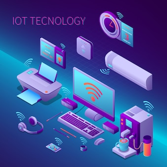 Iot technology isometric composition with office equipment and electronic personal gadgets vector illustration