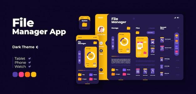 スマートホームアプリ画面のアダプティブデザインテンプレート。フラットキャラクターを備えた家庭用オートメーションアプリケーションのナイトモードインターフェイス。 iot機器管理スマートフォン、タブレット、スマートウォッチ漫画ui。