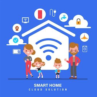 スマートホーム、モノのインターネット、iot、スマートホームの概念図を持つ家族。フラットなデザインスタイルの漫画のキャラクター。