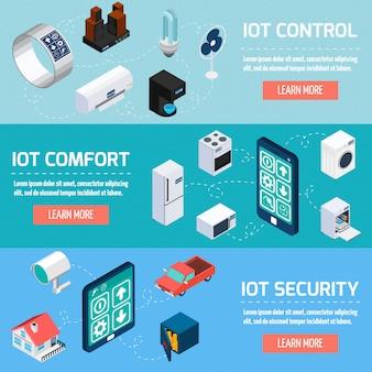 Iot家庭用アイソメトリックバナーセット