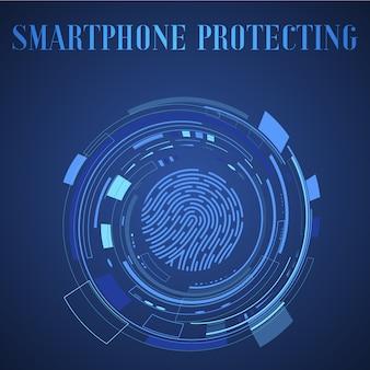 Значок сканирования отпечатков пальцев, iot мобильный смартфон технологии экосистемы приложения. иллюстрация системы удостоверения личности касания безопасности.