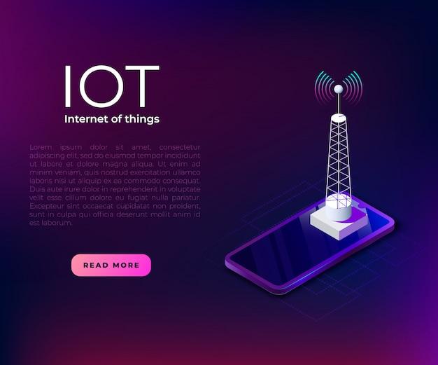 Iot баннер шаблон с башней связи.