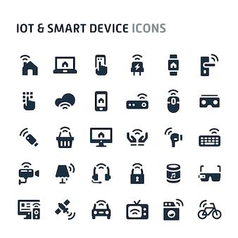 Iot&スマートデバイスアイコンセット。フィリオブラックアイコンシリーズ