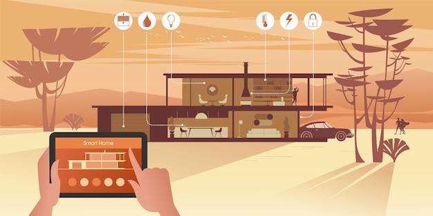 スマートホームテクノロジーはコテージでの生活をより快適で安全にします。ネットワーク経由でタブレットを使用してiotデバイスを管理します。
