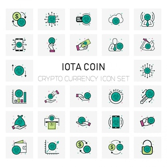 Iota coin crypto currency icons set