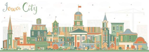 컬러 건물이 있는 아이오와 시티 스카이라인. 벡터 일러스트 레이 션. 역사적인 건축과 비즈니스 여행 및 관광 그림입니다.