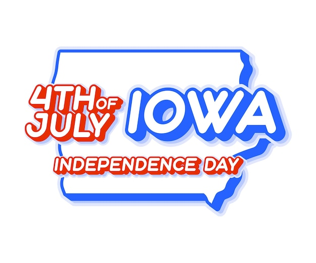 Iowa state 4th of july independence day with map and usa national color 3d shape of us