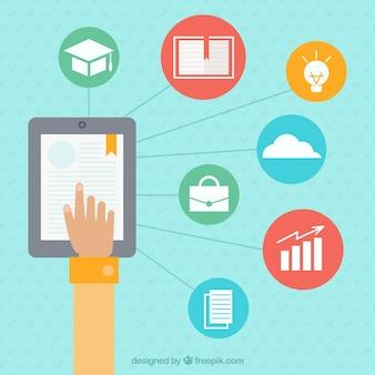 Ipad и интернет-иконки обучения фон